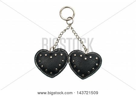 Keychain hearts  present on a white background
