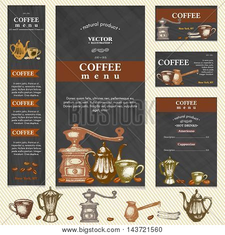 Coffee restaurant menu template business card page template vector illustration