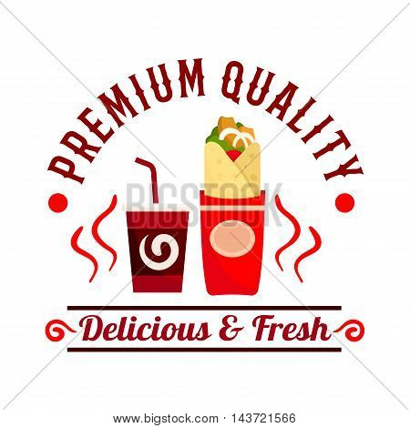 Fast Food icon. Vector shawarma roll snack and drink label. Coffee shop emblem for cafeteria, cafe signboard and menu