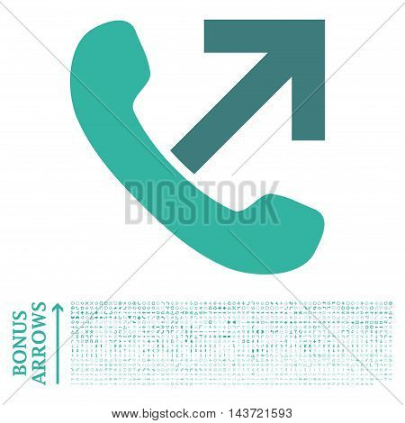 Outgoing Call icon with 1200 bonus arrow and navigation pictograms. Vector illustration style is flat iconic bicolor symbols, cobalt and cyan colors, white background.