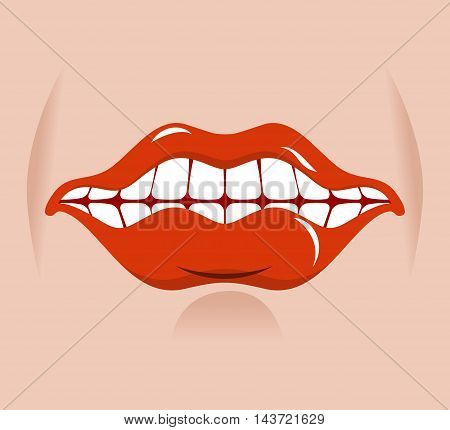 Cheerful Smile. Red Lips And White Teeth. Open Mouth On His Face