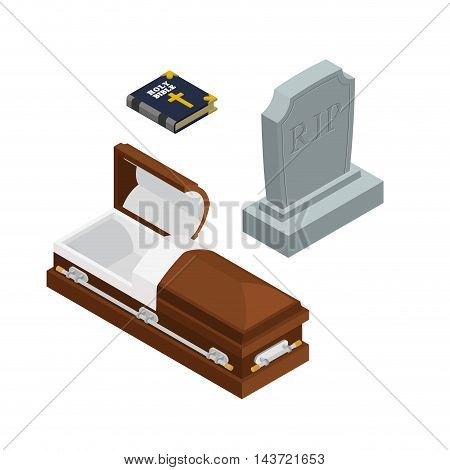 Burial Set. Open Wood Coffin With Dead. Holy Bible. Tombstone And Grave