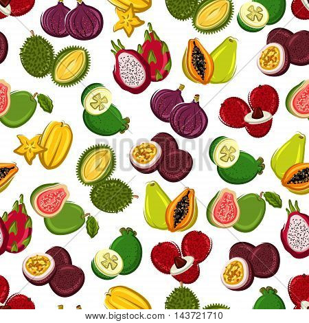 Exotic fruits seamless background. Wallpaper with pattern of tropical fruit icons papaya, durian, carambola, lychee, mangosteen, dragon fruit, guava, passion fruit, fig