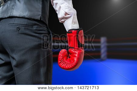 Hand Of Boxing Businessman In Box Ring.