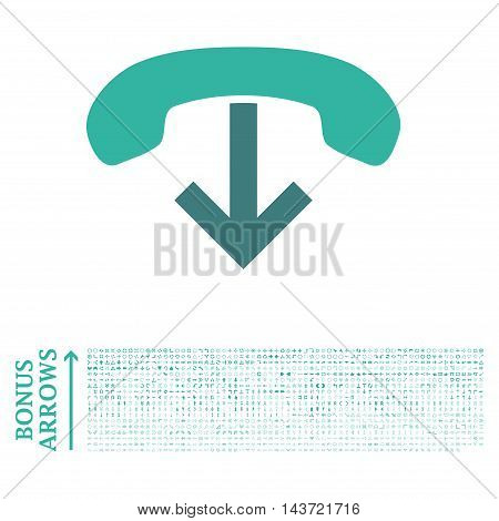 Phone Hang Up icon with 1200 bonus arrow and direction pictograms. Vector illustration style is flat iconic bicolor symbols, cobalt and cyan colors, white background.