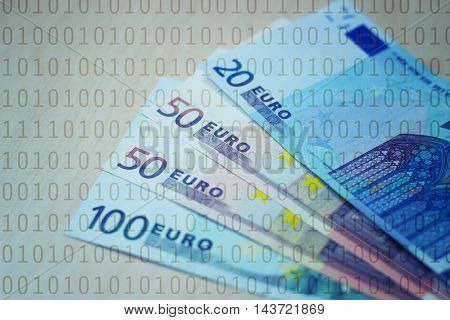 Euros and binary numbers - finance concept