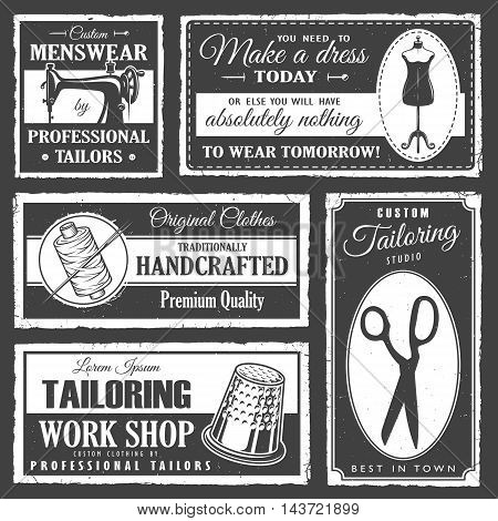 Set of professional tailor labels with sewing tools and vintage grunge texture