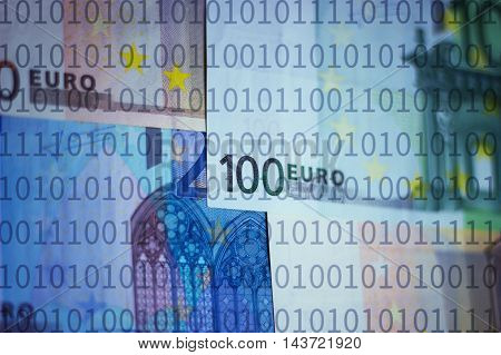 Euros and binary numbers - digital finance concept