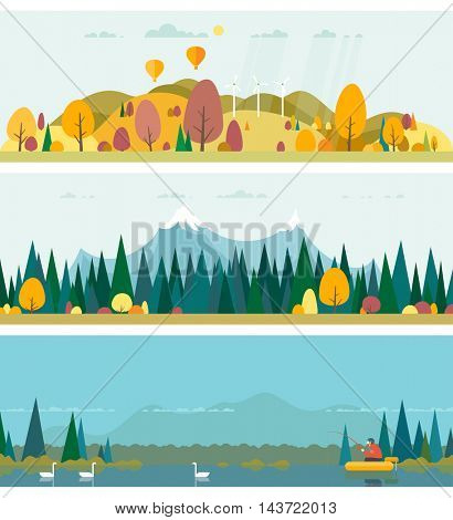 Vector flat illustrations - Eco style life. Abstract forest. Wildlife. Forest view. Fishing on the lake in the woods. Autumn.