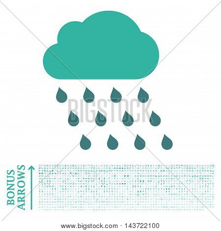 Rain Cloud icon with 1200 bonus arrow and direction pictograms. Vector illustration style is flat iconic bicolor symbols, cobalt and cyan colors, white background.