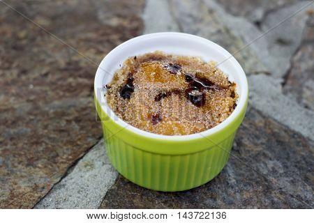 Crem brule in green pot - food photo