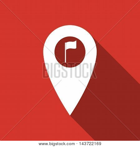 Map marker with a golf flag flat icon with long shadow. Vector Illustration