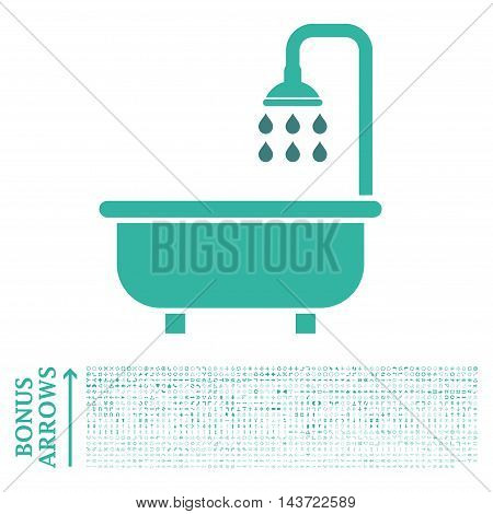 Shower Bath icon with 1200 bonus arrow and direction pictograms. Vector illustration style is flat iconic bicolor symbols, cobalt and cyan colors, white background.