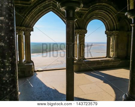 MONT SAINT-MICHEL, FRANCE - MAY 04, 2014: View of the bay from windows of Mont Saint-Michel Abbey, France