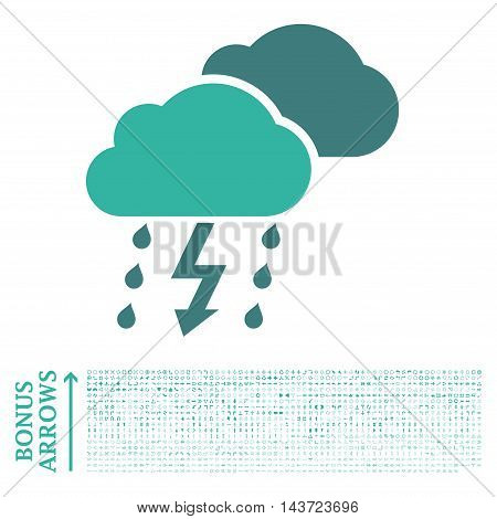 Thunderstorm icon with 1200 bonus arrow and direction pictograms. Vector illustration style is flat iconic bicolor symbols, cobalt and cyan colors, white background.