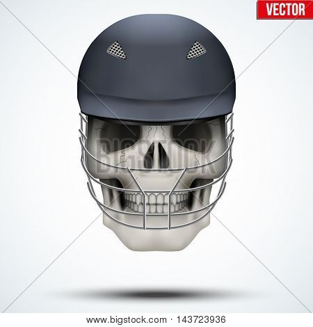 Human skull with cricket helmet. The symbol of strength and power. Vector illustration Isolated on white background.