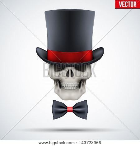 Human skull with cylinder hat and bow tie. Gentleman symbol. Vector Illustration on isolated white background