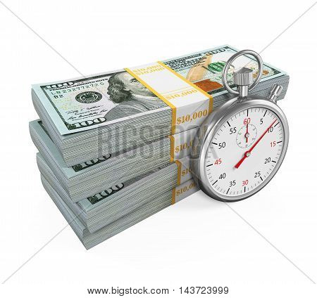 Time is Money Illustration isolated on white background. 3D render