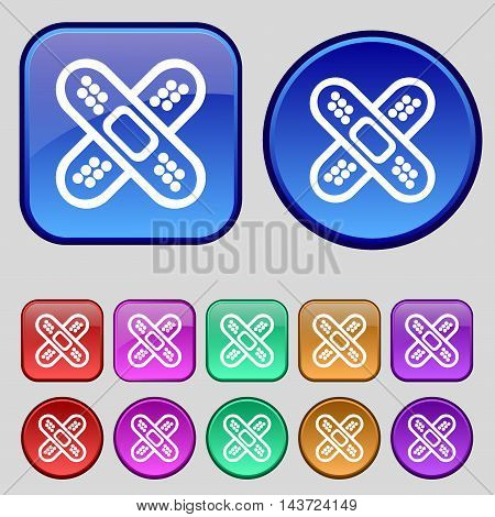 Adhesive Plaster Icon Sign. A Set Of Twelve Vintage Buttons For Your Design. Vector