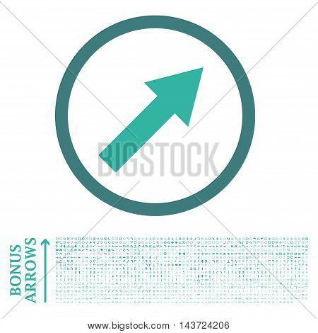 Up-Right Rounded Arrow icon with 1200 bonus arrow and navigation pictograms. Vector illustration style is flat iconic bicolor symbols, cobalt and cyan colors, white background.