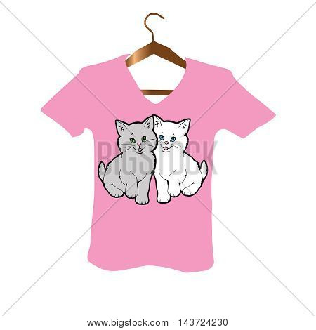 Glamour T-Shirt stylish Design with two white and grey little persian kittens with blue and green eyes on the bright pink background.