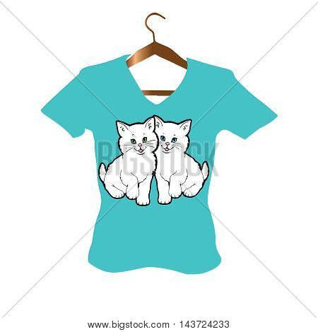 T-Shirt stylish Design with two white little persian kittens with blue and green eyes on the turquoise background.