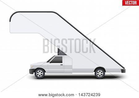 Original design of Aircraft passenger loader on pickup car base. Vector illustration Isolated on white background.