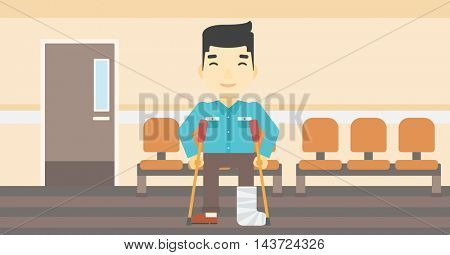 An asian injured man with leg in plaster. Man with broken using crutches. Man with fractured leg in the hospital corridor. Vector flat design illustration. Horizontal layout.
