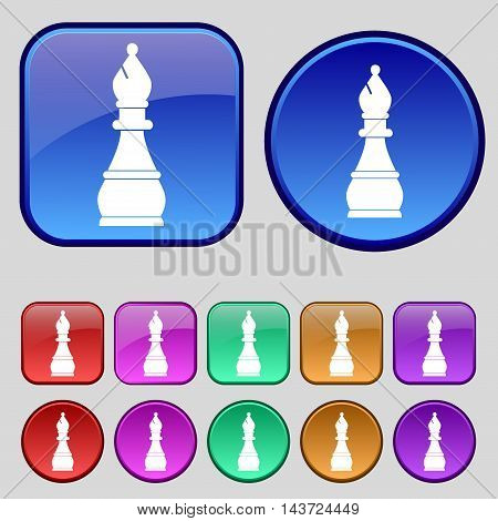Chess Bishop Icon Sign. A Set Of Twelve Vintage Buttons For Your Design. Vector