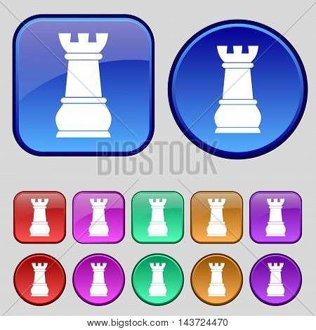 Chess Rook Icon Sign. A Set Of Twelve Vintage Buttons For Your Design. Vector