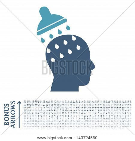 Brain Washing icon with 1200 bonus arrow and direction pictograms. Vector illustration style is flat iconic bicolor symbols, cyan and blue colors, white background.