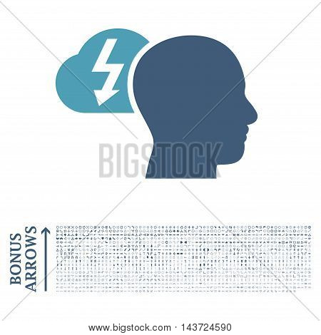 Brainstorming icon with 1200 bonus arrow and direction pictograms. Vector illustration style is flat iconic bicolor symbols, cyan and blue colors, white background.