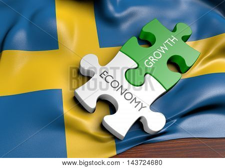 Sweden economy and financial market growth concept, 3D rendering