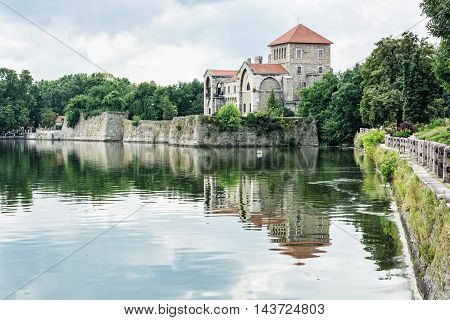 Beautiful Castle In Tata, Hungary, Fortress Is Reflected In The Lake