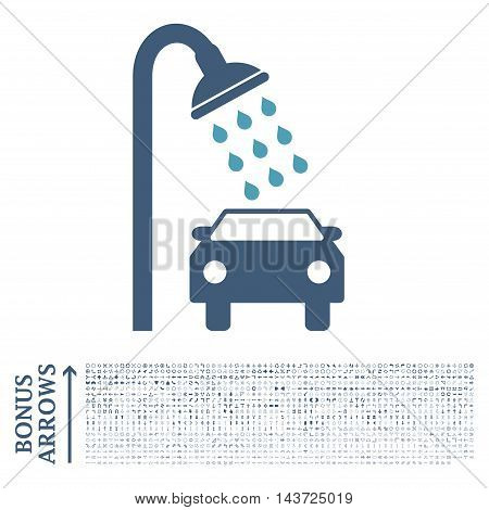Car Shower icon with 1200 bonus arrow and navigation pictograms. Vector illustration style is flat iconic bicolor symbols, cyan and blue colors, white background.