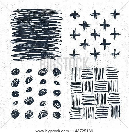 Hand drawn backgrounds set with crosses dots and scratch marks. Vector illustration.