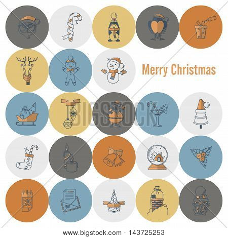 Christmas and Winter Icons Collection. Retro Color. Simple and Minimalistic Style. Vector