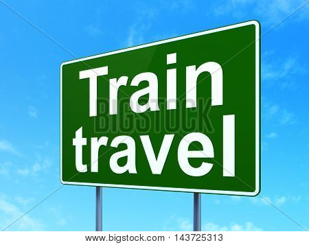 Travel concept: Train Travel on green road highway sign, clear blue sky background, 3D rendering