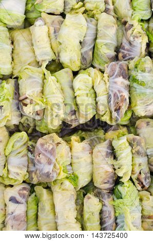 Meat Wrap In Cabbage (also Called As Spring Roll Cabbage Recipe) Which Is Famous Thai Cuisine Menu
