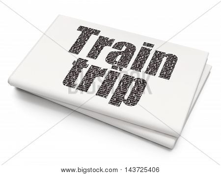 Vacation concept: Pixelated black text Train Trip on Blank Newspaper background, 3D rendering