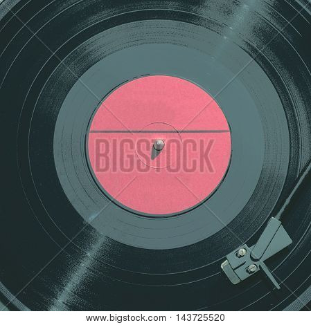 Old and vintage vinyl record, the view from the top
