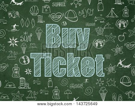 Tourism concept: Chalk Blue text Buy Ticket on School board background with  Hand Drawn Vacation Icons, School Board