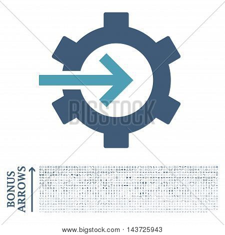 Cog Integration icon with 1200 bonus arrow and navigation pictograms. Vector illustration style is flat iconic bicolor symbols, cyan and blue colors, white background.