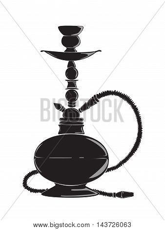 Black hookah silhouette. Oriental tobacco and pipe. Concept of relaxaation and lounge.