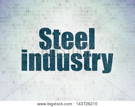 Manufacuring concept: Painted blue word Steel Industry on Digital Data Paper background