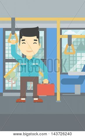 An asian young man traveling by public transport. Man traveling by passenger bus or subway. Vector flat design illustration. Vertical layout.