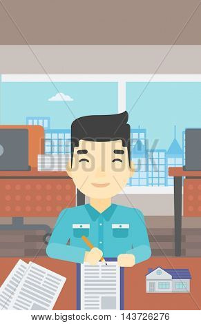 An asian male real estate agent signing a contract. Young real estate agent sitting at workplace in office with a house model on the table. Vector flat design illustration. Vertical layout.