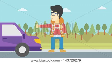An asian young man with backpack hitchhiking on roadside. Hitchhiking man trying to stop a car on the road. Vector flat design illustration. Horizontal layout.