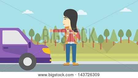 An asian young woman with backpack hitchhiking on roadside. Hitchhiking woman trying to stop a car on the road. Vector flat design illustration. Horizontal  layout.