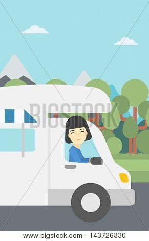 An asian woman driving a motor home in the forest. Woman travelling by camper van. Vector flat design illustration. Vertical layout.